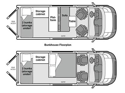 diagram of bunkhouse na bunkhouse campervan     4 berth campervan finder  na bunkhouse campervan     4 berth